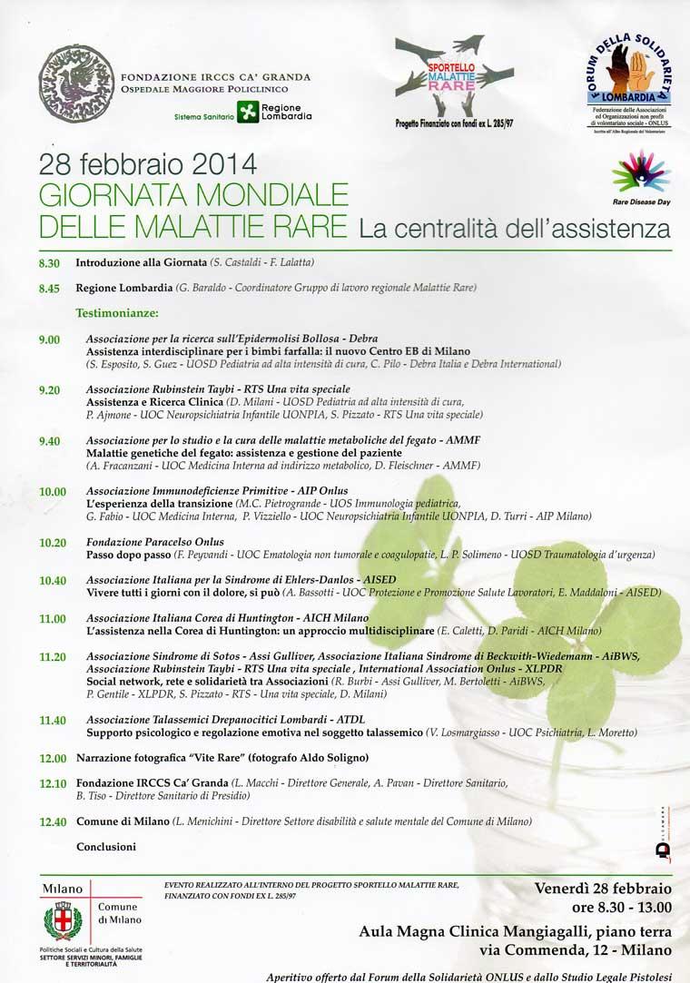 Giornata Mondiale delle Malattie Rare Milano 28-2-2014
