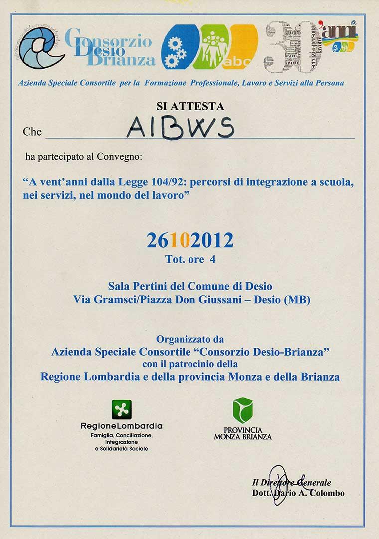 Aibws presente al Convegno Consorzio Desio-Brianza 26-10-2012
