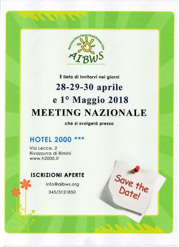 MEETING 2018 AIBWS -28 /29/30 APRILE E 1 MAGGIO 2018