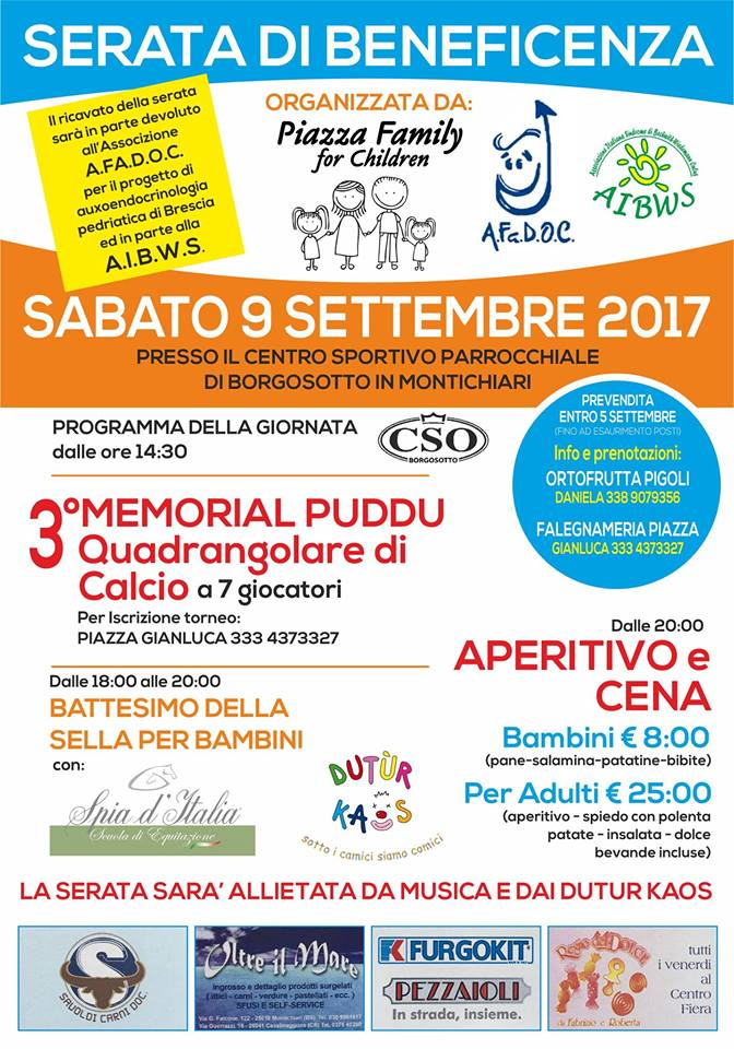 PIAZZA FAMILY for Children – SERATA DI BENEFICENZA E III TORNEO MEMORIAL PUDDU  2017! VI ASPETTIAMO!!!