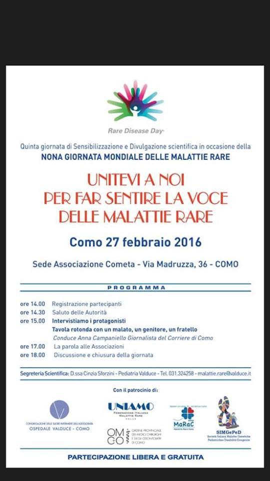 27 febbraio 2016 GIORNATA MONDIALE DELLE MALATTIE RARE